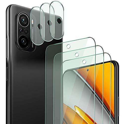 QHOHQ 3 Stück Schutzfolie für Xiaomi Poco F3 mit 3 Stück Kamera Schutzfolie, Panzerglas Membran, 9H Härte - HD - Anti-Kratz - Blasenfrei - Einfach Installieren