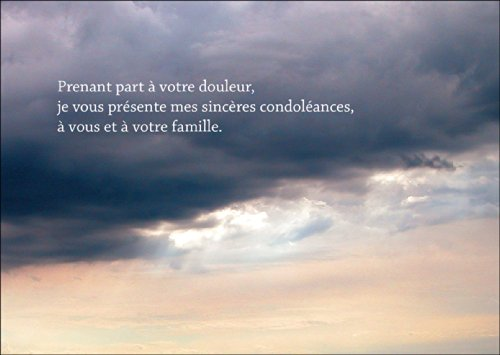 Rouwkaart: Prenant Part à votre douleur, elk vous présente mes sincères condoléances, à vous et à votre famille. - Franse condoolenkaart met avondschemering • hartelijke premium deelnemingskaart om te condoleren.