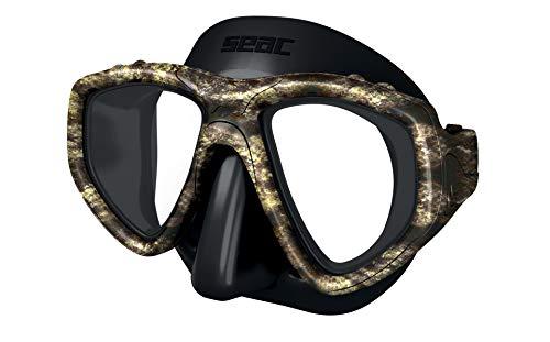 SEAC One Máscara de Buceo, Lentes graduadas para miopía Disponibles, Unisex-Adult, Negro/Marrón Camo, estándar