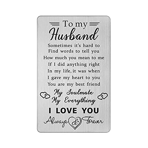 TANWIH Husband Wallet Card Gift from Wife, I Love You Cards Gifts for...