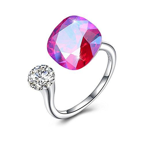 Kristall Offene Ringe Für Frauen Persönlichkeit 925 Sterling Silber Hypoallergen Einstellbarer Ring Unisex Überzug Weißgold (11 Farbe),I