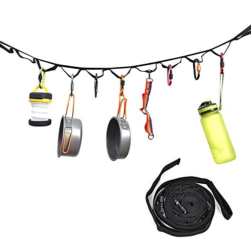 Kaijia Correa de almacenamiento para camping con 19 bucles fijos para acampar hamaca correa hebilla cierre exterior suministros para colgar