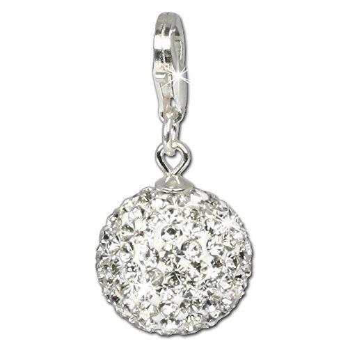 SilberDream Glitzer Charm Swarovski Kristalle Kugel weiß SHINY Anhänger 925 Silber für Bettelarmbänder Kette Ohrring GSC205