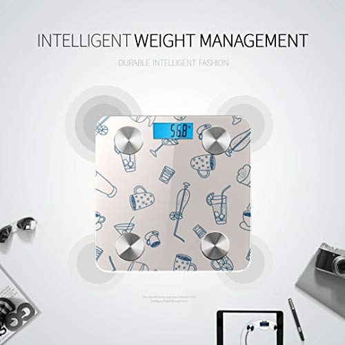 Cute Boba Green Tea Drink Electric Scales for Weight Best Weight Scale Most Accurate Bathroom Scale Tracks 8 Key Compositions Analyzer Sync with Fitness Apps 400 Lbs