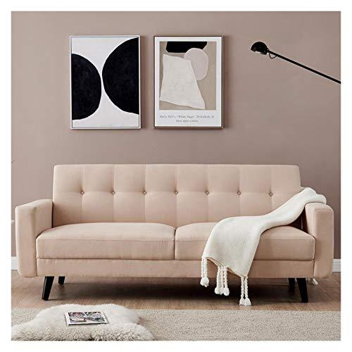 X-LSWAB Velvet DREI-Sitzer Sofa 3-Sitzer Stoff Schlafsofa Schlafsofa mit Kissen for Wohnzimmer Schlafzimmer Büro-Aufnahme-Lounge Wartezimmer (Beige) Größe 79