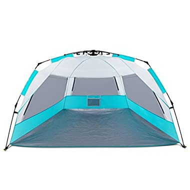 Easy Up Beach Tent, ALPRANG Portable Anti UV Beach Shelter Quick Sun Tent Shade with Carry Bag