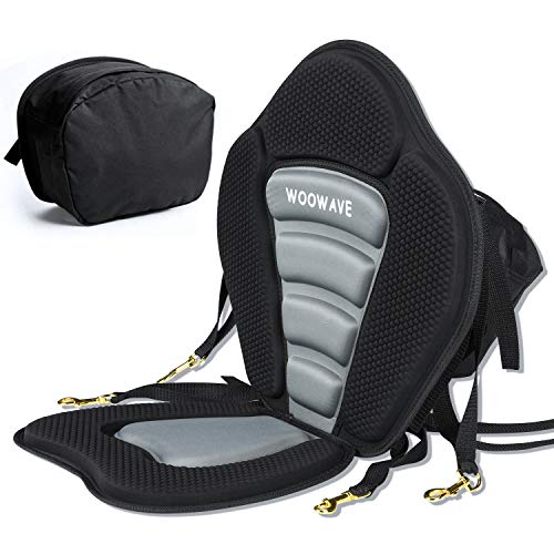 WOOWAVE Kayak Seat Padded Deluxe Canoe Seat Adjustable Boat Seat Cushioned Fishing Seat High Back Comfortable Backrest Support with Detachable Back Storage Bag for Universal Sit