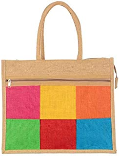 PRYSHA Jute Bag I Medium Size I Lunch Bag, Grocery Bag, Daily use Bag, (13x12x5) - Colored Box