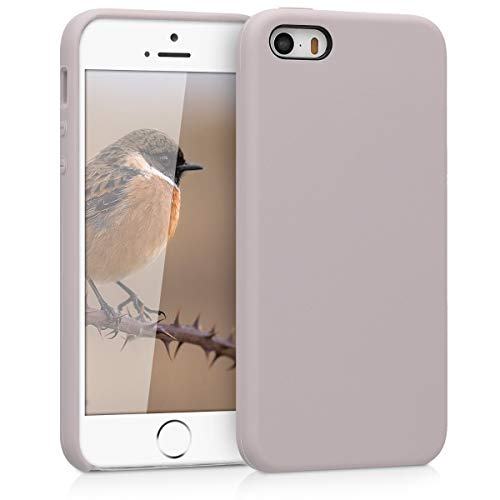 kwmobile Hülle kompatibel mit Apple iPhone SE (1.Gen 2016) / 5 / 5S - Handyhülle gummiert - Handy Case in Helltaupe
