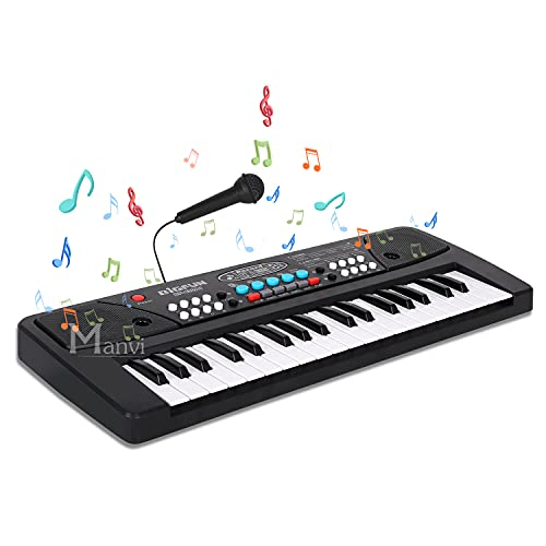 MANVI Kids Piano Keyboard, Piano for Kids with Microphone Portable Electronic Keyboards for Beginners 37 Keys Kid Musical Toys Pianos for Girls Boys Ages 3-8 (37 Key Big Fun Piano New for Kids)
