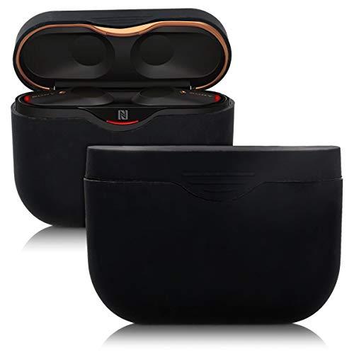 kwmobile Custodia compatibile con Sony WF-1000XM3 - Protezione Custodia porta auricolari in silicone TPU con cordino e apertura ricarica nero