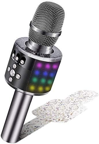 Micrófono Inalámbrico de Karaoke Bluetooth BONAOK con Luces LED Controlables, Máquina Portátil de Karaoke, Altavoz, Regalo de Cumpleaños, Juguete de Viaje para iPhone Android PC (Gris Espacial)