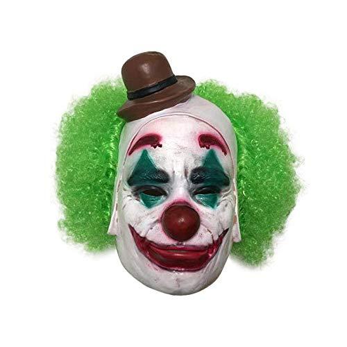 WWWL Mscara de Halloween Joker Mscara de la pelcula Novedad divertida Cosplay Terror Payaso de miedo Mscara con pelo verde Peluca de ltex de Halloween Disfraz de fiesta A