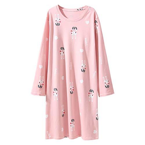 AOSKERA Rosa Nachthemd für Mädchen Kaninchen Nachtwäsche Baumwolle 9-10 Jahre