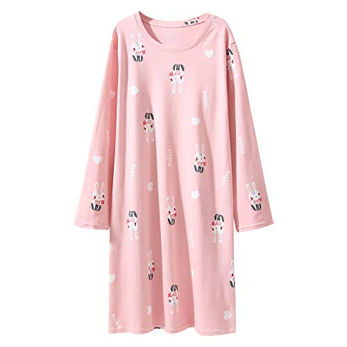 toddler girls' long sleeve nightgowns bunny nightdress cotton sleepwear 5-6 years