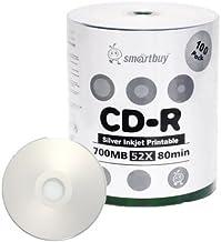 Smartbuy 700mb/80min 52x CD-R Silver Inkjet Hub Printable Blank Recordable Media Disc (1000-Disc)