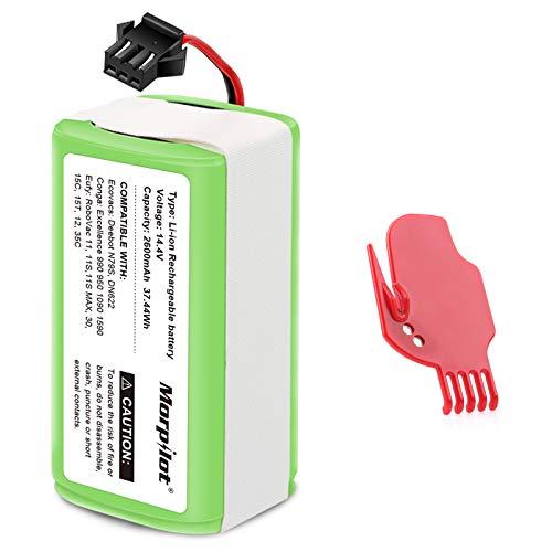 morpilot Batería 14.4V 2600mah Litio, Compatible con Conga Excellence y Conga Excellence 990 950 1090, DEEBOT N79S N79, Eufy RoboVac 11 11S 11S Max 15C 30C 30 MAX, IKOHS NETBOT S14 S15, Con un Cepillo