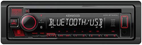 Kenwood KDC-BT440U - Radio CD para coche con manos libres Bluetooth (sintonizador de alto rendimiento, procesador de sonido, USB, AUX, control de Spotify, 4 x 50 W, iluminación de botones), color rojo