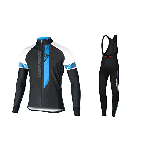 Uglyfrog #02 2018 Invierno Mantener Caliente Manga Larga Maillot Ciclismo Hombre Bodies +Long Bib Pant with Gel Pad Winter Style