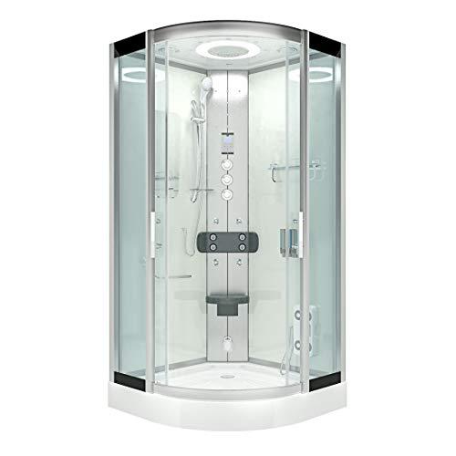 AcquaVapore DTP8046-1003 Dusche Dampfdusche Duschtempel Duschkabine -Th. 90x90 JA mit 2K Scheiben Versiegelung