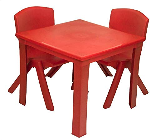 Toddler Children Kids Plastic Table and 2 Chairs Set for Study Activity Indoor or Outdoor Use (Red)