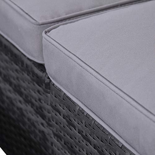 SVITA Poly Rattan Lounge California Gartenset Sofa Garnitur Polyrattan Gartenmöbel Farbwahl (Grau) - 10