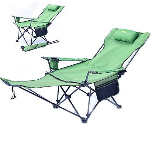 AMAZOM Camping Recliner Und Lounge Chair, Rucksack Klappstuhl Mit Kopfstütze, Fußstütze Und Aufbewahrungstasche Für Camping Im Freien, BBQ, Tragfähigkeit Beträgt 150 Kg,Grün