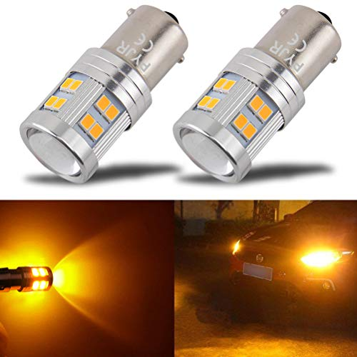 1156 1156a Ba15s LED Amber Yellow Bulb, P21w 7506 1141 LED Bulb Amber, AC/DC 10-30V 7.2w, with Projector, 1000 Lumens, for Car, Motorcycle. (Pack of 2)