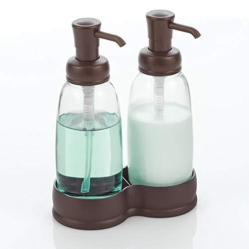 mDesign Dispensador doble de jabón – Elegantes dosificadores de baño en vidrio – Dosificador de jabón, loción y crema de manos recargable – transparente y bronce