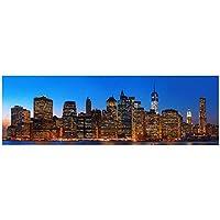 キャンバスに印刷ニューヨーク市の夜のスカイライン風景画キャンバスのポスターとプリントマンハッタンビューウォールアート写真家の装飾60x180cmフレームなし