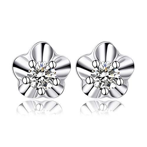 KnSam Boucle d'Oreille Femme Fine Diamant 0.1ct, Or Blanc 18 Carats Élégance Cadeau Noël