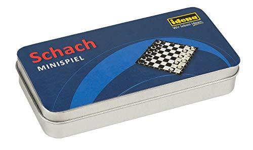 Idena 40110 - Ajedrez en práctica Caja metálica para Guardar y Transportar, 32 Figuras de ajedrez, Superficie de Juego de Aprox. 13 x 13 cm