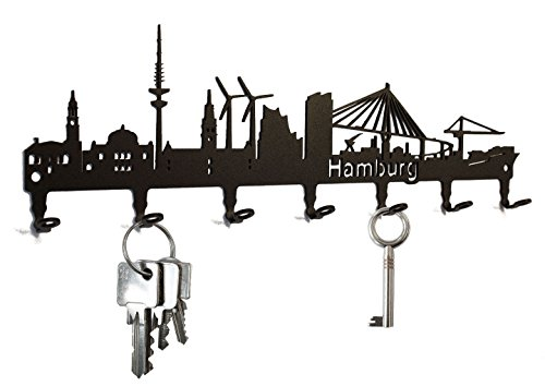 Schlüsselbrett / Hakenleiste * Hamburg Skyline * - Schlüsselboard, Schlüsselleiste, Metall - 7 Haken
