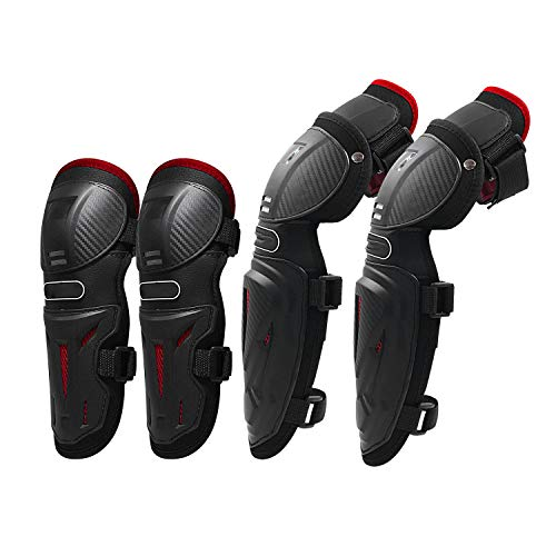 IQQI Knee Pads Elbow Pads - 2 in 1 Protective Elbow Guard/Knee and Shin Guards, Motorcycle Set with Adjustable Knee Cap Pads Protector for Motocross and Other Sport,Red