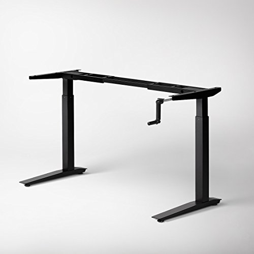 Jarvis Crank-Powered Standing Desk Frame Only - Adjustable Height Sit Stand Desk - Desk Top Not Included (Black)