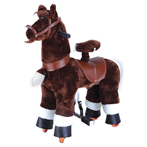 MBCL Riding Toys Small Rocking Horse Ride on Horse Toy Plush Walking Animal Brown Horse Small Size for Age 3+ No Battery No Electricity Mechanical Pony Pre-Kindergarten Toys