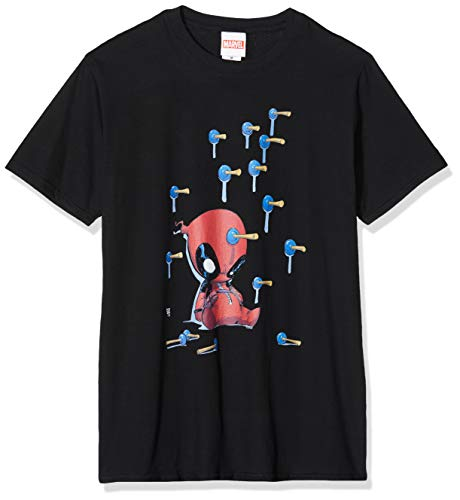 Disney Deadpool Cartoon Knockout T-Shirt, Noir, S Homme