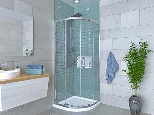 Box doccia cabina angolare tonda semicircolare in cristallo altezza 190 (90x90)
