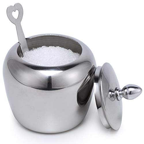 Small Stainless Steel Sugar Bowl with Lid and Sugar Spoon in Heart Shape for Kitchen and Home Kitchenexus Sugar Holder in Apple Shape 7.2oz/215ml