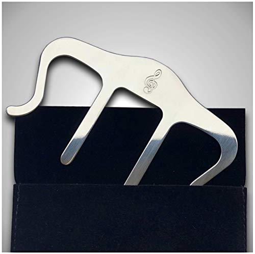 Metal Music Book Clip and Page Holder - Sheet Music Holders for Piano, Keyboard, Stands, and Books - Adorable Page Marker Clips with Velvet Storage and Carrying Bag - Strong, Sturdy