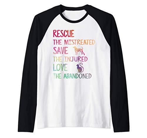 RESCUE SAVE LOVE PET Animal Shelter Volunteer Gifts Sleeve Manche Raglan