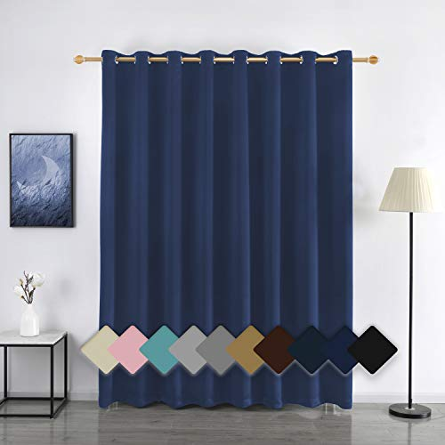 YURIHOME Extra Wide Room Divider Curtains Soundproof Blackout Window Treatment Drapes Grommet for Sliding Glass Door Bedroom and Living Room(1 Pack,Navy Blue,Wide 100 x Long 108 inch)