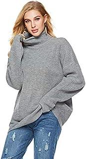 SDJYH suéteres de Cuello Alto para Mujer Cuello Redondo Jersey de Punto Informal Jersey de Manga Larga Tops para Mujer 04