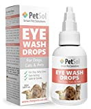 PetSol Eye Wash Drops for Dogs, Cats & Pets (50ml) Powerful Formula For Itchy, Watery, Gunky Eyes. Gentle Lubricating Drops Clean & Protect Dry Eyes – Mild Eye Cleaner Removes Dirt, Dust and Residue