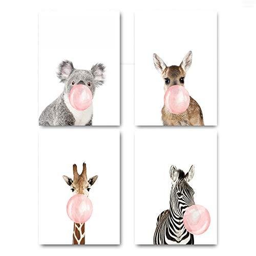 Giraffe Zebra Tier Poster und Drucke Leinwand Kunst Malerei Wandkunst Kinderzimmer Dekoratives Bild Kinder Dekoration 70x100cm