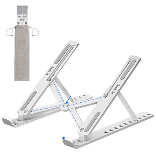 Soporte para ordenador portátil, plegable, portátil, ventilado, elevador, 10 niveles, ajustable, ergonómica, ventilación de aire, 10 – 15.6 †ABS+silicona, color blanco