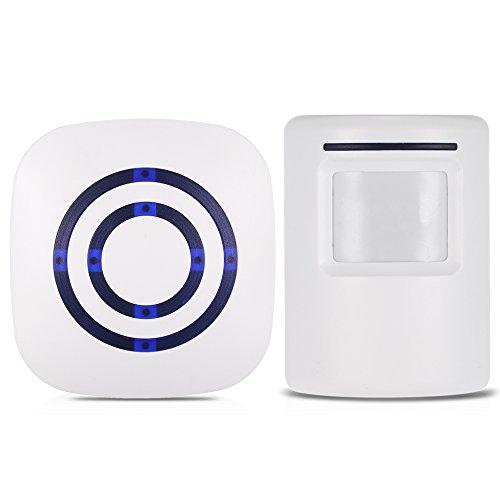KKmoon Timbre para Puerta Inalámbrico, Sensor de Movimiento PIR, 110dB, 38 Melodías Opcionales, Volumen Ajustable, Rango de Detección por Infrarrojos Aproximadamente 7 Metros, Avisador de Presencia