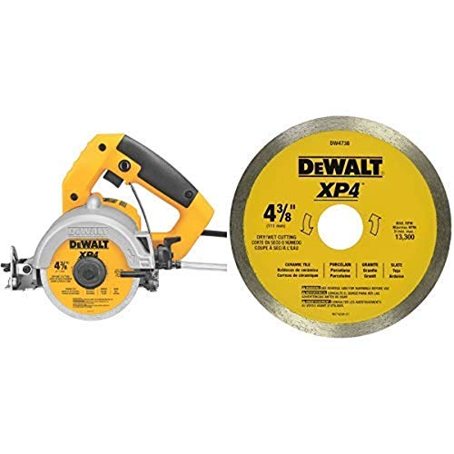 DEWALT DWC860W 4-3/8-Inch Wet/Dry Masonry Saw with DEWALT DW4738 4 3/8-Inch by .060-Inch Wet/Dry XP4 Porclean and Tile Blade