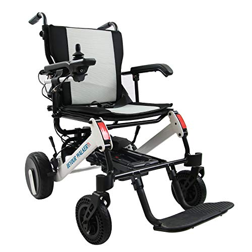 BEYOUR WALKER 2021 Electric Wheelchair, Lightweight Compact Foldable Power Mobility Aid Power Chair with Handle for Travel Outdoor Home