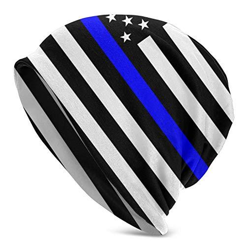 Qefgjbw Thin Blue Line Blue Live Matter Flag.Png Erwachsene Strickmützen Casual Unisex Beanie Mütze Druck Totenkopf Kappe Schwarz für Damen und Herren